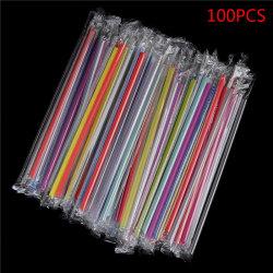 100 st klart individuellt förpackat dricka pp sugrör drycker halm Multicolor