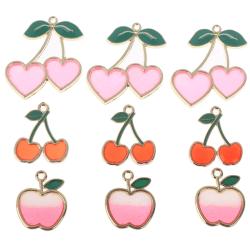 10st äpple charm körsbär charm charm emalj frukt för smycken