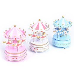 3 färger Trä Merry-Go-Round karusell musikbox Barnleksaker Gif Pink one size