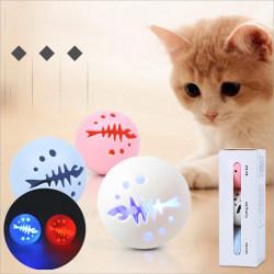3st Cat Play Ball Plast Fish Bone Toys Ball Bell Blinkande Li onesize