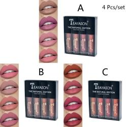 4st / set Kvinnor '' '' S Liquid Lipstick Set Lip Gloss Nude Makeup Ma B