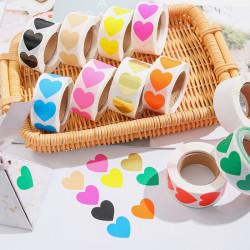 500 PC / Roll Love Heart Shaped Label Sticker Scrapbooking Packa Pink