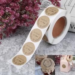 500st Handgjorda Med Kärlek Kraftpapper Klistermärken Runda Lim L. one size