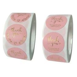 500st per rulle tack klistermärke tätningsetiketter rosa etikettpapper B