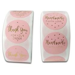 500st rosa tack för din beställning Kraft Kraft Labels Stick A