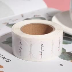 500st / rulle Runda vitt papper etikett klistermärke tack klistermärke one size