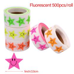 500st / rulle Klistermärke Fluorescerande Smile Star Etikett Klistermärke DIY Ba Green