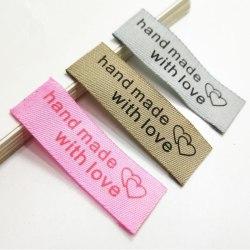 50st Handgjorda Med Kärlek Sy Vävda Etiketter Hantverk Klippbok Sewin Pink