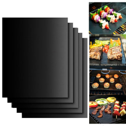 5er Set PREMIUM Duration BBQ Grillmats Grillunderlag Teflon B Black one size