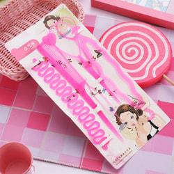 6st / set frisyrflätningsverktyg genomdragbart hårhår Pink