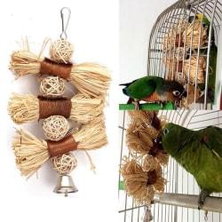 Bird Straw Chew Bites Ball Toys Cage Climb Swing Pet Papegoja Coc