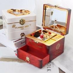 Klassisk roterande dansare Ballerina Piano Music Box Clockwork Pla Brown one size