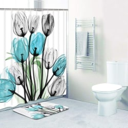 Dekor Tulip Badrumsmatta Set Vattentät Polyestertyg Bathro 180*180 curtain