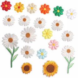 Broderad Daisy Flower Sticker Sy järn på klädkassar Patch C 4Pcs