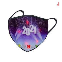 Luminous LED Christmas Mask USB Light Up Mask Xmas Glowing Mask J