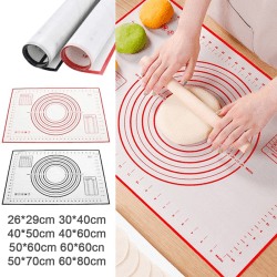 Non-Stick kök Rolling Dough Pad Silikon bakmatta bakelse Red 60*80cm