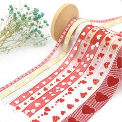 Organza Ribbon Heart Wedding Bands för bröllop Valentine Deco