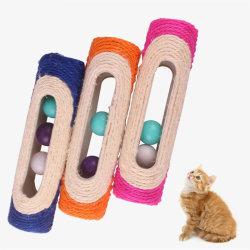 Pet Cat Toy Rolling Sisal Playing Post med 3 fångade bolltrai Blue
