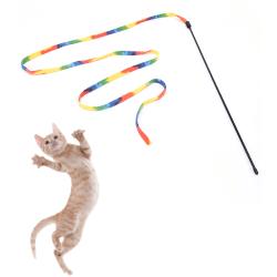 husdjurskatter regnbåge tygpinne leksak interaktiva leksaker för husdjurskatt j Rainbow 47cm