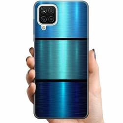 Samsung Galaxy A12 TPU Mobilskal Blue Metallic Stripes