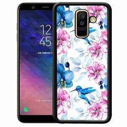 Samsung Galaxy A6 Plus (2018) Soft Case (Svart) Blommor