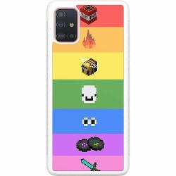Samsung Galaxy A51 Soft Case (Vit) MineCraft Rainbow