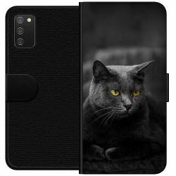 Samsung Galaxy A02s Wallet Case Black Cat