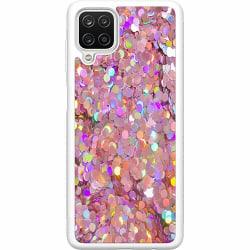 Samsung Galaxy A12 Soft Case (Vit) Glitter