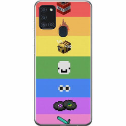 Samsung Galaxy A21s Mjukt skal - MineCraft Rainbow