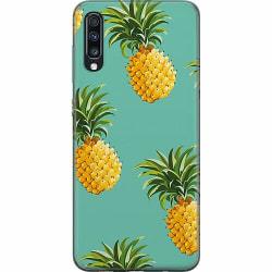 Samsung Galaxy A70 Thin Case Pineapples Teal