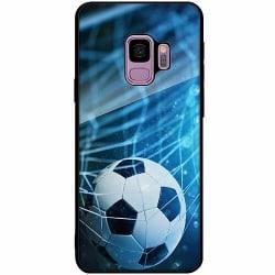 Samsung Galaxy S9 Svart Mobilskal med Glas Fotboll