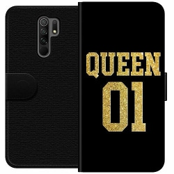 Xiaomi Redmi 9 Wallet Case Queen 01 Black Gold