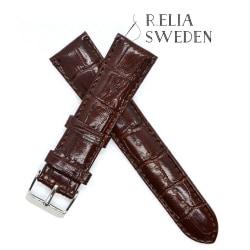 18mm Klockarmband R.Elia - brun krokodilmönster i äkta läder