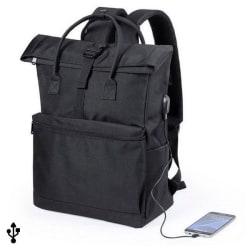 Ryggsäck för bärbar dator och surfplatta med USB uttag Svart