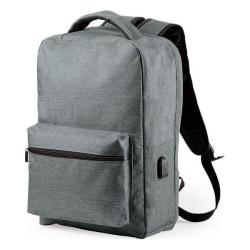 Stöldskydds ryggsäck med USB och fack för surfplatta och dator grå