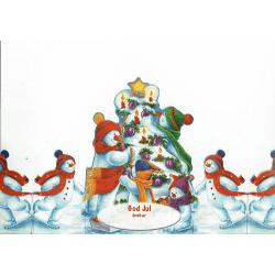 No1 Retro (Tomterad) Snögubbar Julkort med kuvert