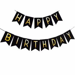 Vimpel Girland, Grattis på födelsedagen bokstäver (Svart)