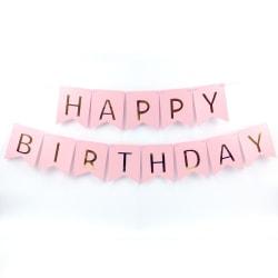 Vimpel Girland, Grattis på födelsedagen bokstäver (Ljusrosa)