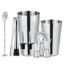 10-delar cocktailset , barset,  shaker 700ml - Rostfritt stål Silver