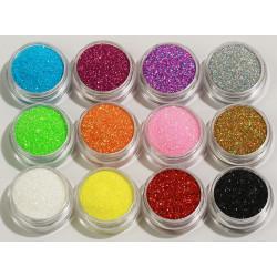 12st burkar finkornigt glitter  multifärg