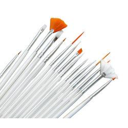 15 st Penslar nail art nagelpenslar Vit