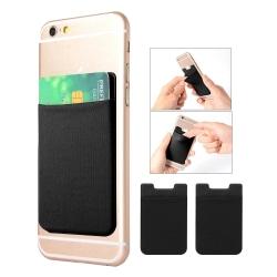 2-pack Universal Mobil plånbok/korthållare - Självhäftande svart Svart