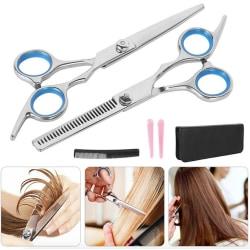 6-delar Frisörset - frisörsax, urtunningssax, kam, håravdelare Silver