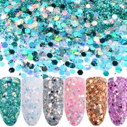 Nagelglitter mix - Rainbow Glitter mix - Sea