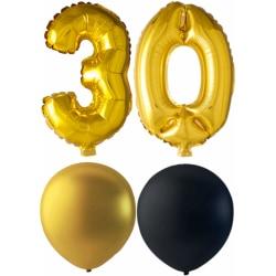 Ballonger födelsedagsmix 30 år guld/svart multifärg