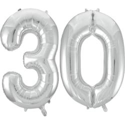 """Stora 102 cm (40 """") silverfolieballonger för 16 till 60-årsdagar Silver 30"""