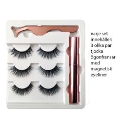3 olika MINK 5D magnetiska fylliga ögonfransar magneteyeliner