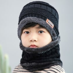 Hat & Scarf Set For Kids Svart