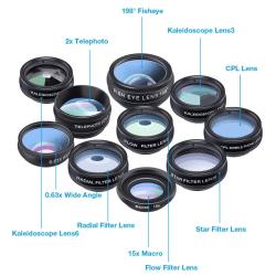Phone Lenses 10 in 1 Svart