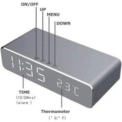 Wireless charger clock grå